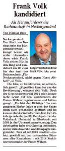 Bericht in der Eberbacher Ausgabe der RNZ